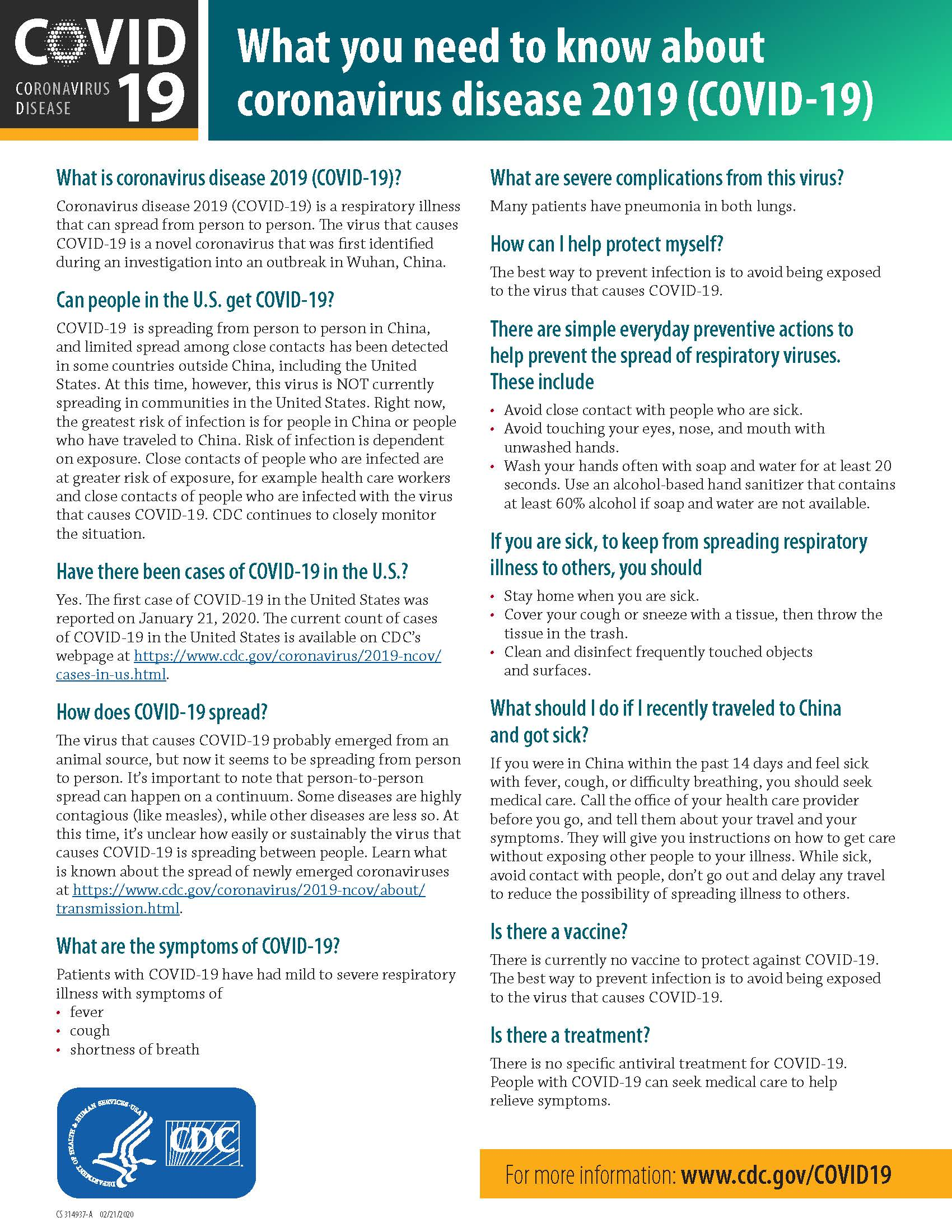 COVID-19 Fact Sheet from the CDC
